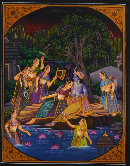 Traditional Indian art title Krishna Teasing Radha on Silk - Miniature Paintings