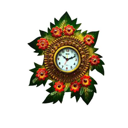 E Craft | Papier Mache Floral Wall Clock Craft Craft by artist E Craft | Indian Handicraft | ArtZolo.com