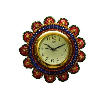 E Craft | Papier Mache Round Wall Clock Craft Craft by artist E Craft | Indian Handicraft | ArtZolo.com