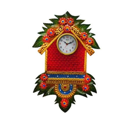 E Craft | Papier Mache Wall Clock Hut Design Craft Craft by artist E Craft | Indian Handicraft | ArtZolo.com