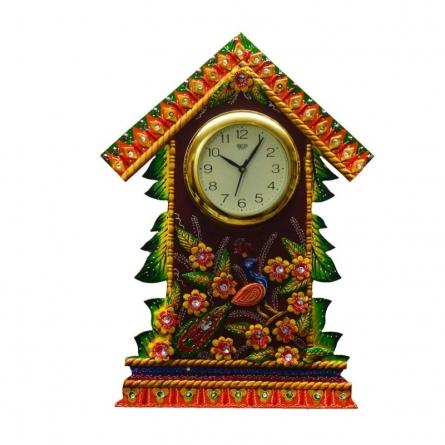 E Craft | Wall Clock Floral Hut Design Craft Craft by artist E Craft | Indian Handicraft | ArtZolo.com