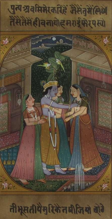 art, traditional, paper, miniature, religious, god, krishna