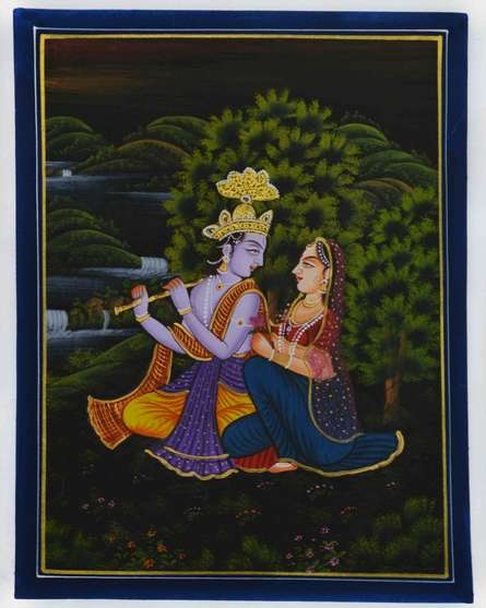 Traditional Indian art title Lord Krishna Playing Bansuri With Radha on Silk - Miniature Paintings