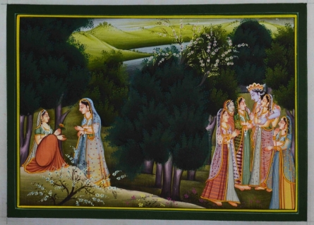 Traditional Indian art title Lord Krishna With Gopis on Silk - Miniature Paintings