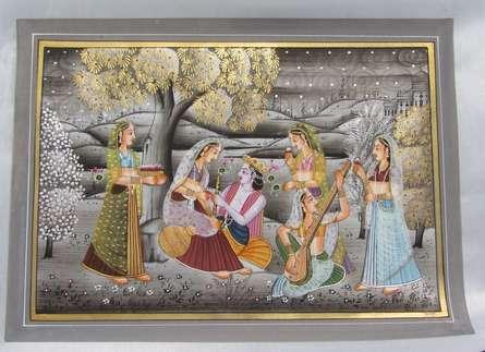 art, traditional, silk, miniature, religious, god, krishna