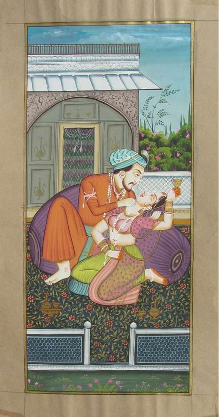 Unknown | Mughal Traditional art title Magnificient Mughal Love Scene on Paper | Artist Unknown Gallery | ArtZolo.com