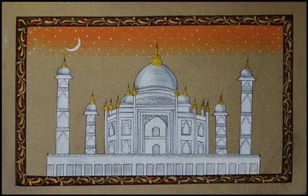 Traditional Indian art title Masjid With Eid Chand on Paper - Miniature Paintings