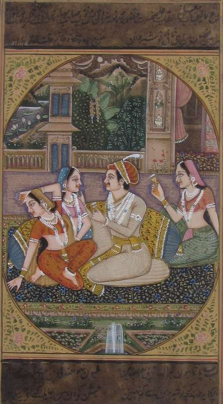 Unknown | Mughal Traditional art title Melodious Sprink Mughal Painting on Paper | Artist Unknown Gallery | ArtZolo.com