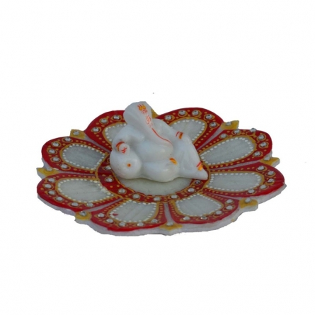 Ganesha resting on Marble Lotus Plate | Craft by artist E Craft | Marble