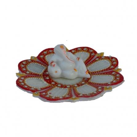 E Craft | Ganesha resting on Marble Lotus Plate Craft Craft by artist E Craft | Indian Handicraft | ArtZolo.com