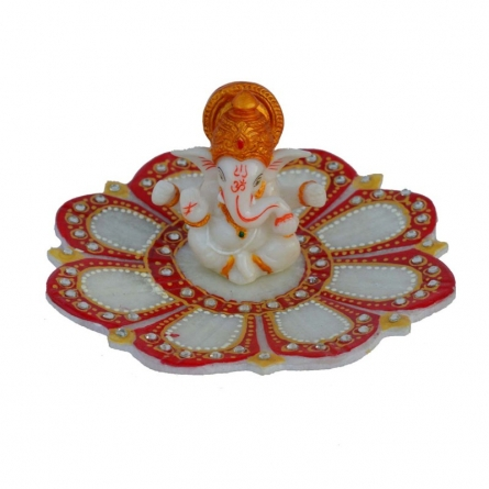 E Craft | Ganesha sitting on Marble Lotus Plate Craft Craft by artist E Craft | Indian Handicraft | ArtZolo.com