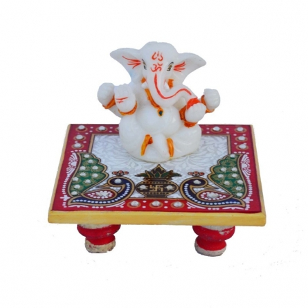 Chaturbhuj Lord Ganesha on Marble Chowki | Craft by artist E Craft | Marble