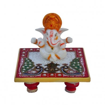 E Craft | Ganesha with Crown on Marble Chowki Craft Craft by artist E Craft | Indian Handicraft | ArtZolo.com