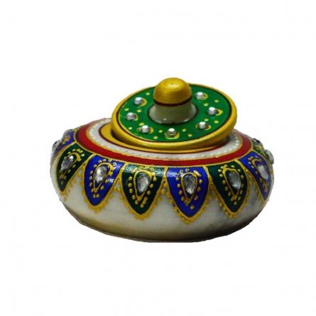 E Craft | Marble Green Sindoor Holder Craft Craft by artist E Craft | Indian Handicraft | ArtZolo.com