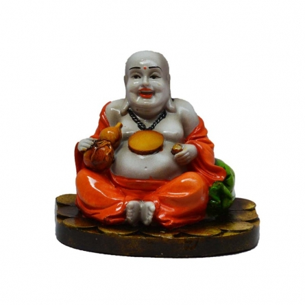 Laughing Buddha Orange | Craft by artist E Craft | Synthetic Fiber