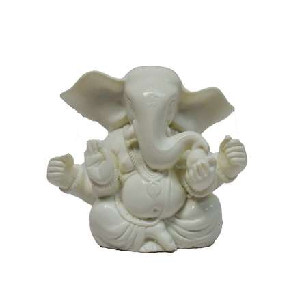 White Chaturbhuj Lord Ganesha | Craft by artist E Craft | Synthetic Fiber
