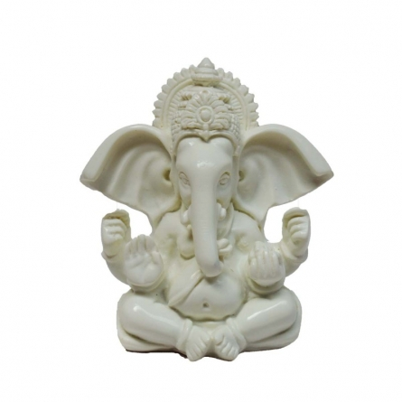 White Chaturbhuj Lord Ganesha with Crown | Craft by artist E Craft | Synthetic Fiber