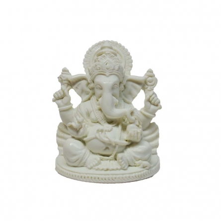 Pure White Spritual Lord Ganesha | Craft by artist E Craft | Synthetic Fiber