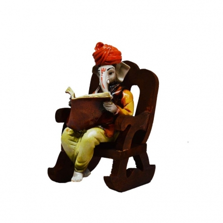 Ganesha reading Book on Wooden Chair | Craft by artist E Craft | Synthetic Fiber
