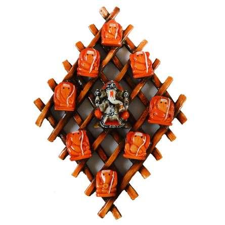 Ganesha Wall Hanging | Craft by artist E Craft | Fiber and Wood