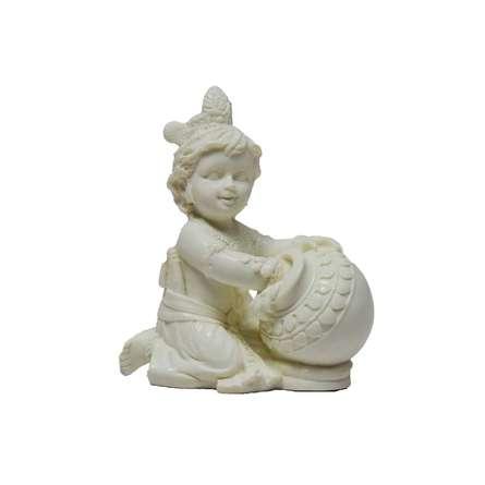 White Statue of krishna having Makhan | Craft by artist E Craft | Synthetic Fiber
