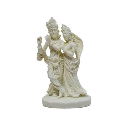 Pure White Statue of Krishna Radha | Craft by artist E Craft | Synthetic Fiber