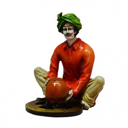 Rajasthani Craftmen Statue making Pot | Craft by artist E Craft | Synthetic Fiber