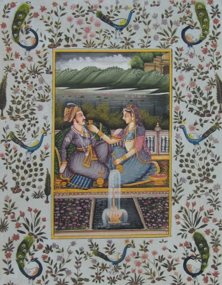 Traditional Indian art title Mughal on Paper - Mughal Paintings