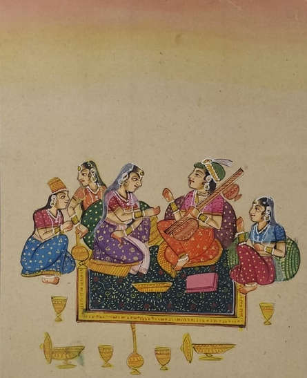 Traditional Indian art title Mughal 2 on Cloth - Mughal Paintings