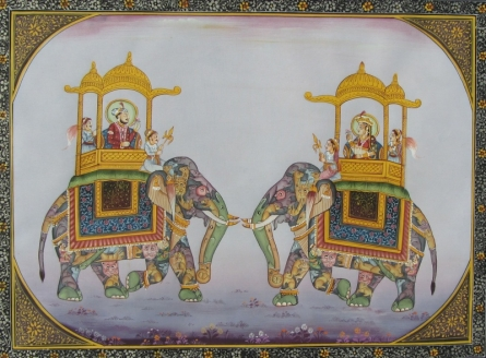 Traditional Indian art title Mughal Elephants 2 on Silk - Mughal Paintings
