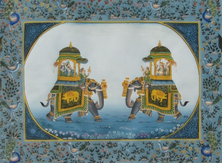 Traditional Indian art title Mughal Elephants 3 on Silk - Mughal Paintings