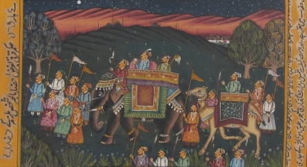 Traditional Indian art title Mughal King With His Convoy on Paper - Mughal Paintings