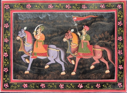 Traditional Indian art title Mughal March on Silk - Miniature Paintings