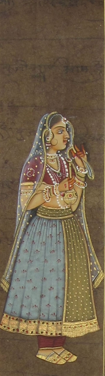 Traditional Indian art title Mughal Queen on Paper - Mughal Paintings