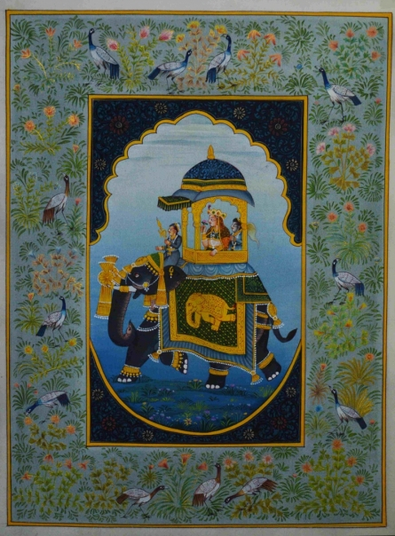 Traditional Indian art title Mughal Queen On Ambari 1 on Silk - Mughal Paintings