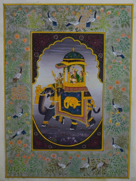 Traditional Indian art title Mughal Queen On Ambari 2 on Silk - Mughal Paintings