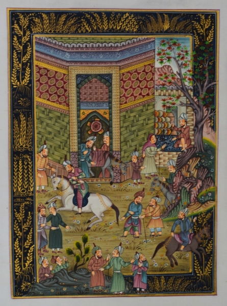 Traditional Indian art title Mughal Village Scene on Silk - Mughal Paintings