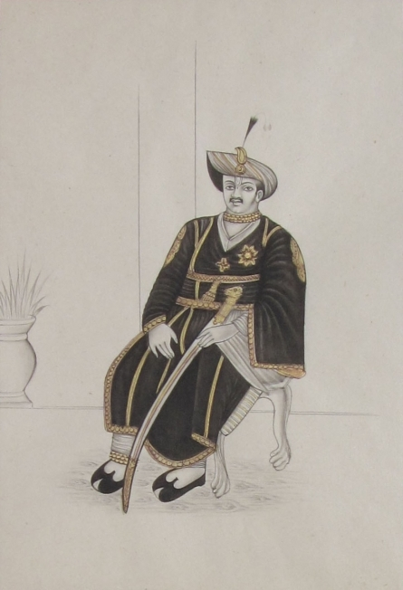 Traditional Indian art title Nawab With Sword On Throne on Paper - Mughal Paintings