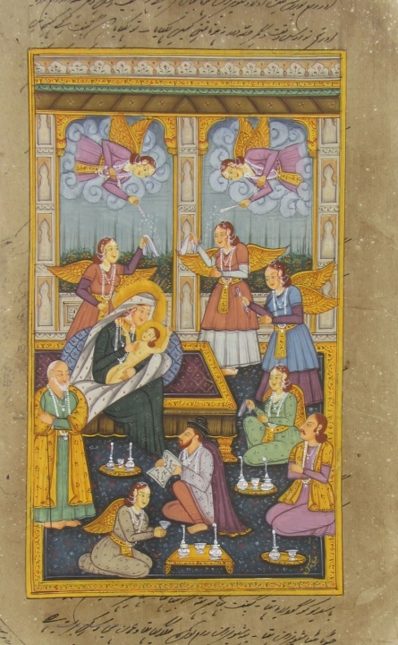Traditional Indian art title Occasion Of Prince Birthday on Paper - Mughal Paintings