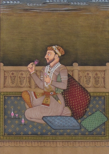 Traditional Indian art title Prince Enjoying At The Court on Paper - Mughal Paintings
