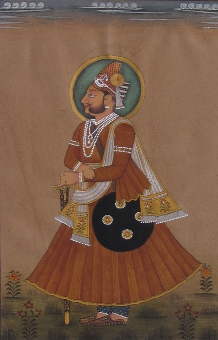 Traditional Indian art title Prince With Shield on Paper - Mughal Paintings