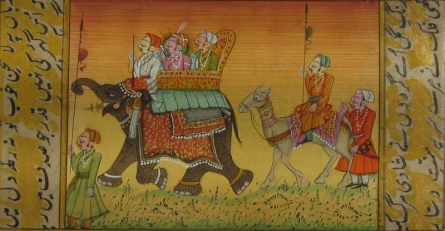 Traditional Indian art title Procession With Elephant And Camel on Paper - Mughal Paintings