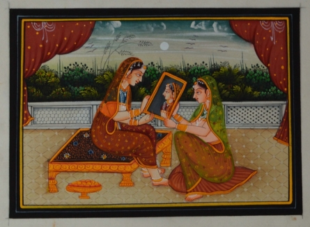 Unknown | Mughal Traditional art title Queen Admiring Self In Mirror on Silk | Artist Unknown Gallery | ArtZolo.com