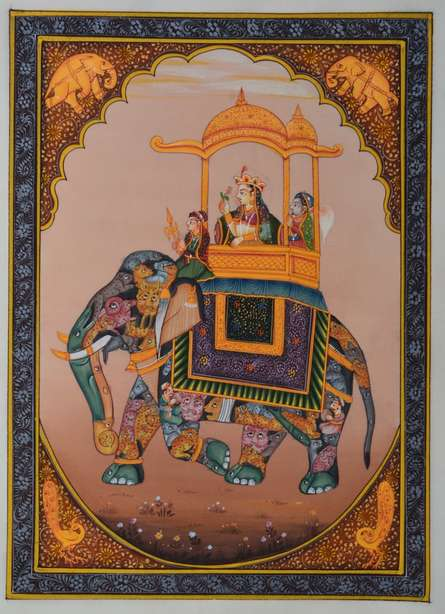 Unknown | Mughal Traditional art title Queen Riding Royal Elephant on Silk | Artist Unknown Gallery | ArtZolo.com