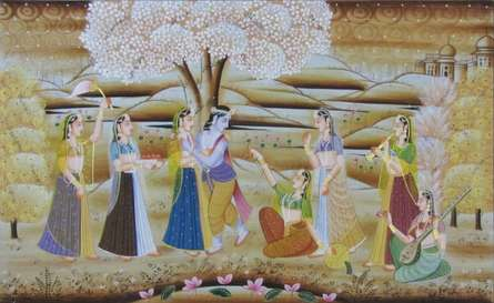 Traditional Indian art title Radha Krishna 1 on Silk - Miniature Paintings
