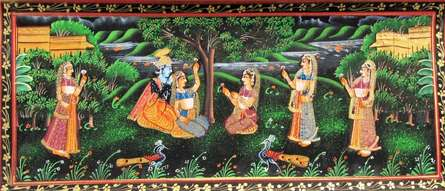 Traditional Indian art title Radha Krishna 2 on Silk - Miniature Paintings