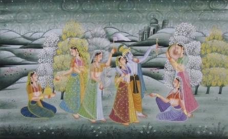 art, traditional, silk, miniature, religious, god, radha krishna