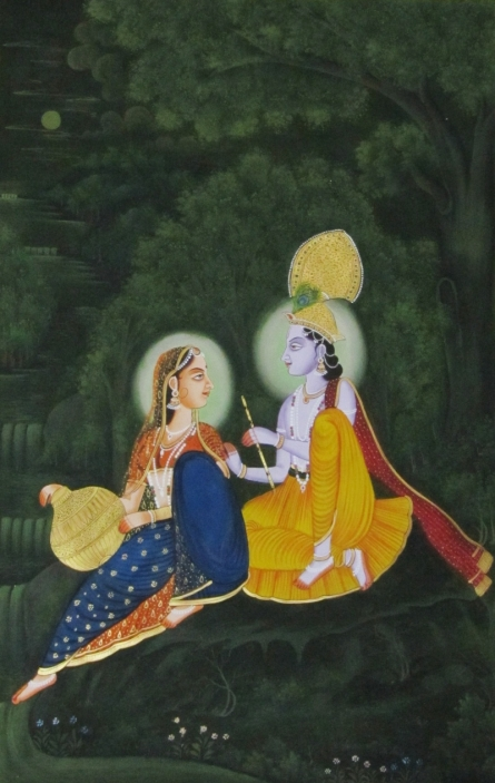 Traditional Indian art title Radha Krishna 3 on Silk - Miniature Paintings