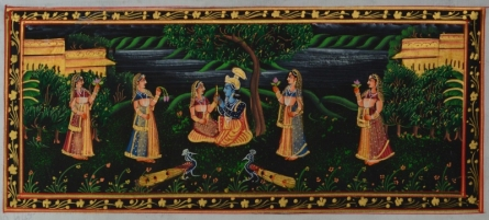 Traditional Indian art title Radha Krishna In Lawn With Gopis And Pea on Silk - Miniature Paintings
