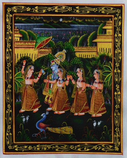 Traditional Indian art title Radha Krishna Playing Bansuri With Gopis on Silk - Miniature Paintings
